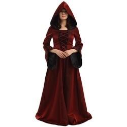 Halloween Kostüm für Frauen Retro Viktorianischen Renaissance Trompete  Hülse Mit Kapuze Kleid Saint Medieval Kleid cce390c0aa58