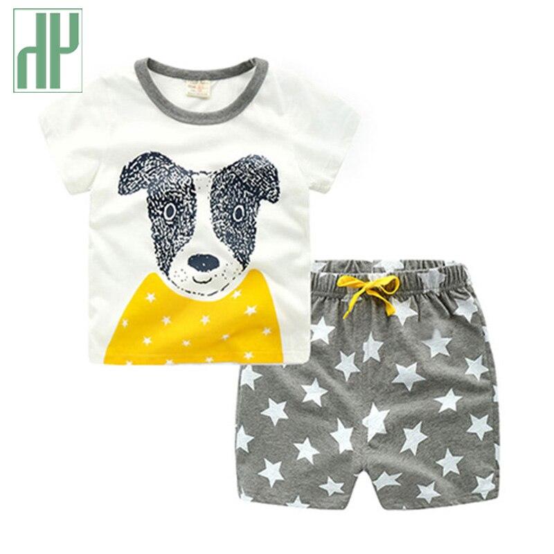 Bébé garçon vêtements d'été de Bande Dessinée tigre Ours renard chien enfants vêtements T-merde + Pantalon Coton filles vêtements set 2 3 4 5 6 7 ans