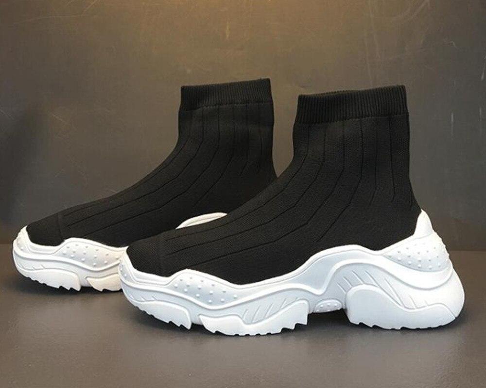 Black Elastic Women Platform Flats Slip On Short Sock Booties Ladies Red Sneakers Shoes Shine Silver