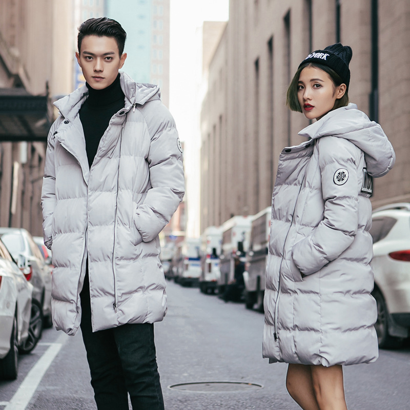 Oversized Lovers Women Men Female Male Winter Jacket Cotton Padded Warm Coat Fashion Couple Hooded Jackets Long Outwear Zipper pinli product made of cultivate morality even cap long cotton padded jacket zipper qiu dong outfit b173605400 male coat