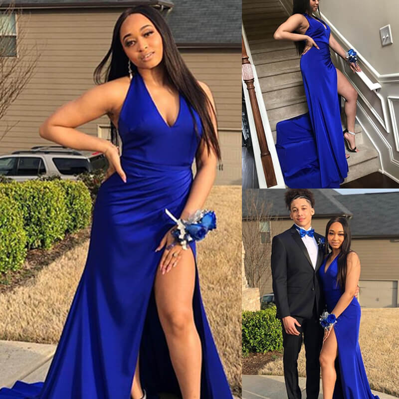 Vestidos De Gala Sexy Deep V-Neck Slit Mermaid Long Prom Dress 2019 Simple Royal Blue Halter  Pleat Formal Party Dresses
