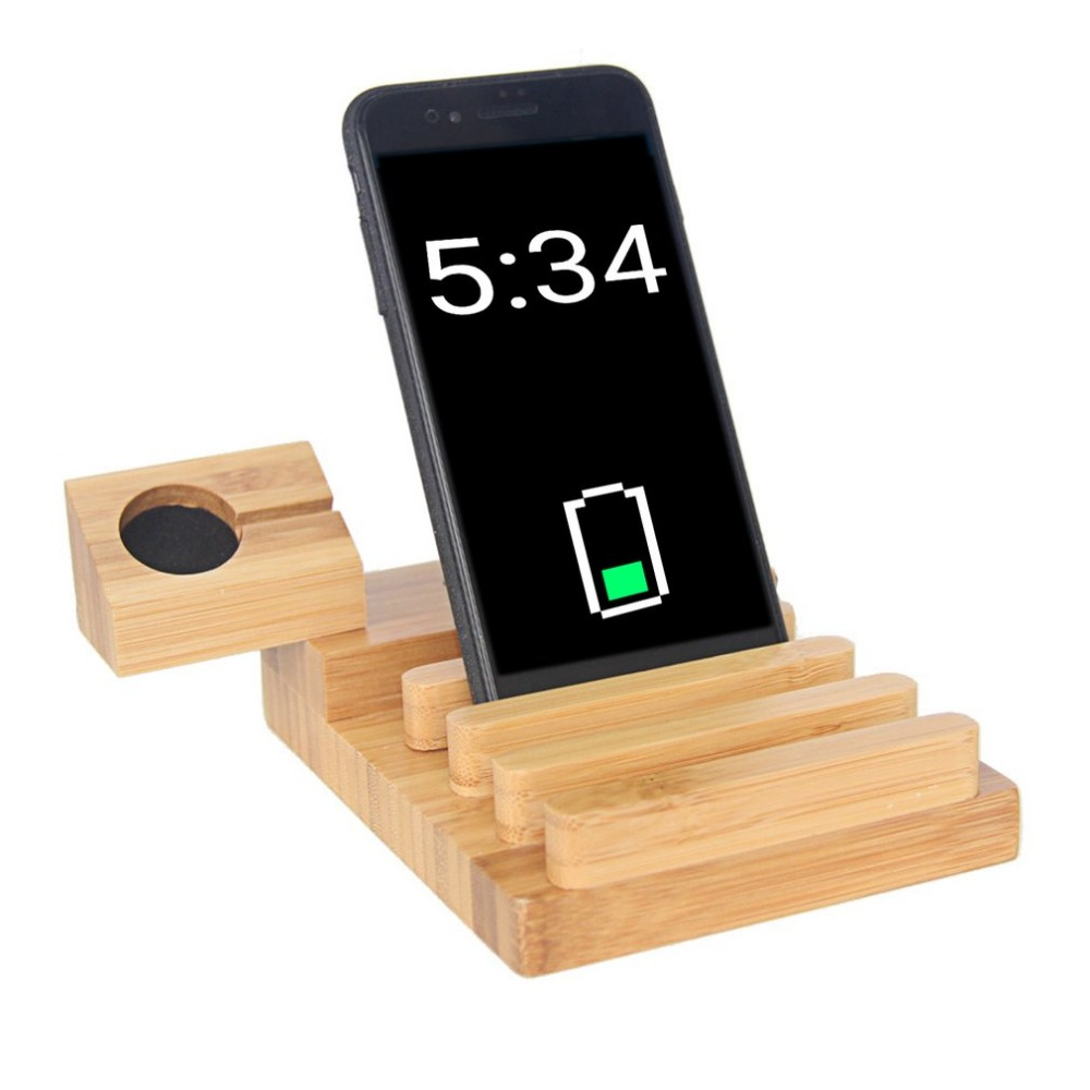 Mobile Phone Charging Stand Holder Bamboo Wood Charger ...