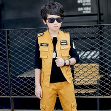 2017  Spring large boys Khaki ArmyGreen clothes set 3pcs for youngsters large youngsters Jacket T-shirt pant garments for 6-16Y