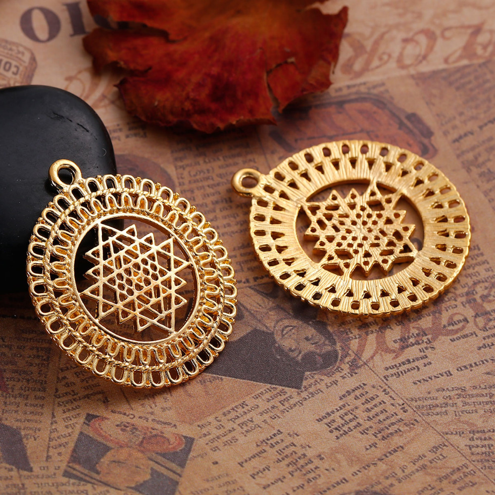 DoreenBeads Zinc Based Alloy Gold Color Round Sri Yantra Meditation Hollow Pendants DIY Components 39mm x 34mm(1 3/8), 5 PCs