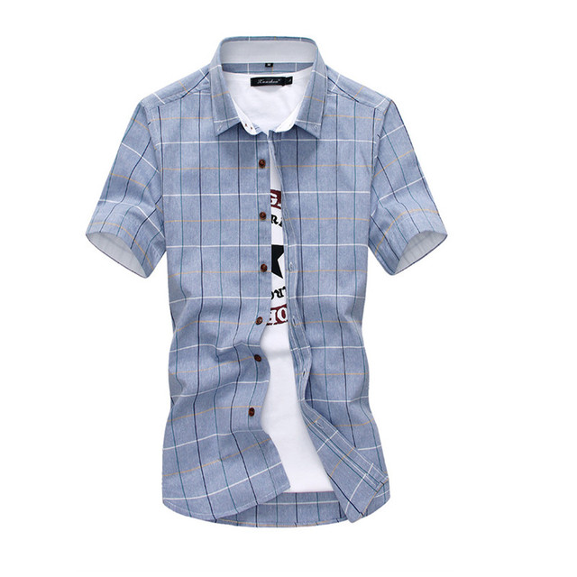 e04b1a484d65 New Arrival Men Shirt Plaid 2016 SummerCasual Quality Dress Shirt Short  Sleeve Chemise Homme Slim Fit Brand Clothing Shirts Men