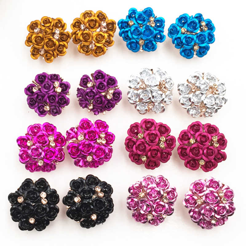 Fashion Wanita Gadis Anting-Anting Ungu Rose Crystal Anting-Anting Bunga Hypoallergenic Anting-Anting Berlebihan Big Anting-Anting Perhiasan
