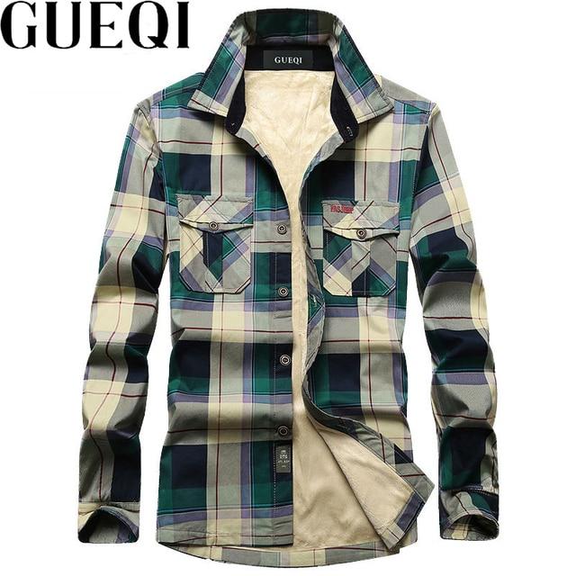 fe3d3493f78 GUEQI Add Fleece Men Fashion Plaid Shirts Plus Size M-4XL Brand NEW  Patchwork Design