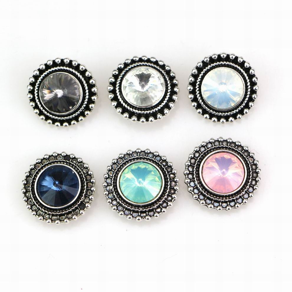6Colors Vintage Round Crystal <font><b>Snap</b></font> <font><b>Buttons</b></font> Metal <font><b>Snap</b></font> diy <font><b>Button</b></font> Charms Beads Fit <font><b>18</b></font> <font><b>mm</b></font> <font><b>Snap</b></font> <font><b>Button</b></font> Jewelry EBT118 image