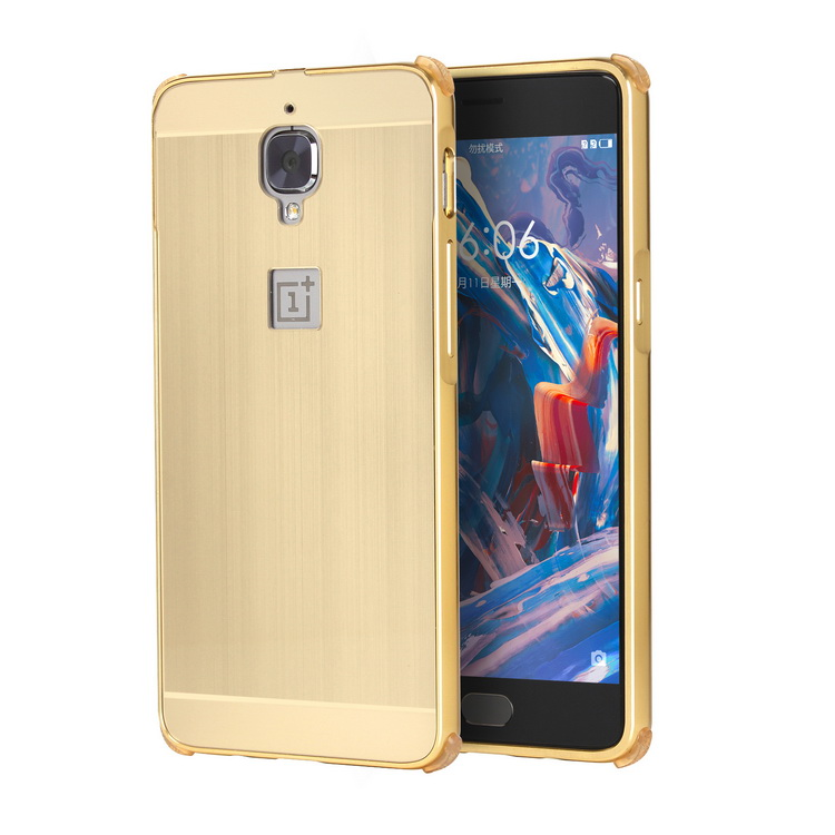 One plus 3 Case Luxury Brushed Plating Metal Aluminum Bumper+PC Acrylic 2 in 1 Hybrid Case Cover capa On For oneplus 3 5.5 inch