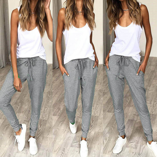 Telotuny 2018 women pants summer Drawstring Casual holiday stripe pants women hip hop harem pants women pants female JL 20