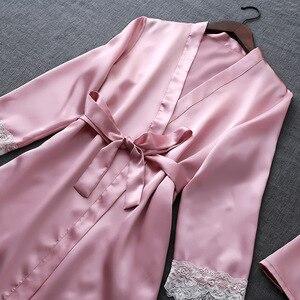 Image 4 - ZOOLIM ฤดูใบไม้ร่วงชุดนอนผ้าไหมชุดผู้หญิง 4 ชิ้น Pijamas เข็มขัดซาตินชุดนอนลูกไม้ชุดนอนเซ็กซี่ Sleep Lounge