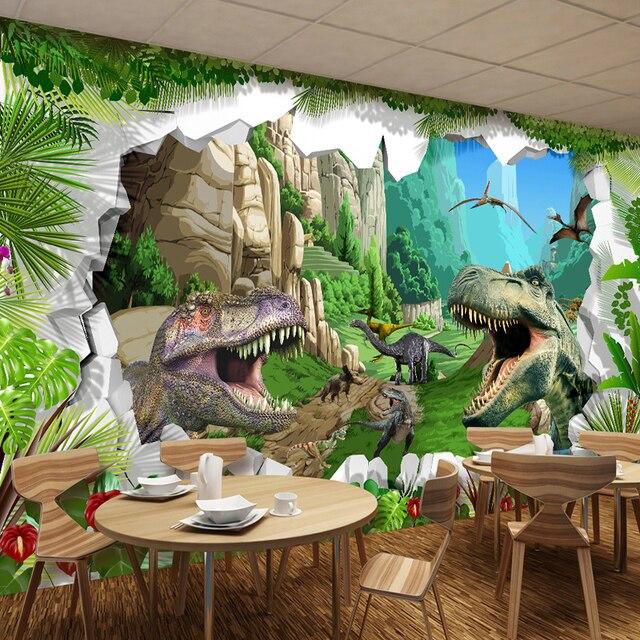 Aangepaste Mural Behang 3D Cartoon Dinosaurus Woonkamer TV ...