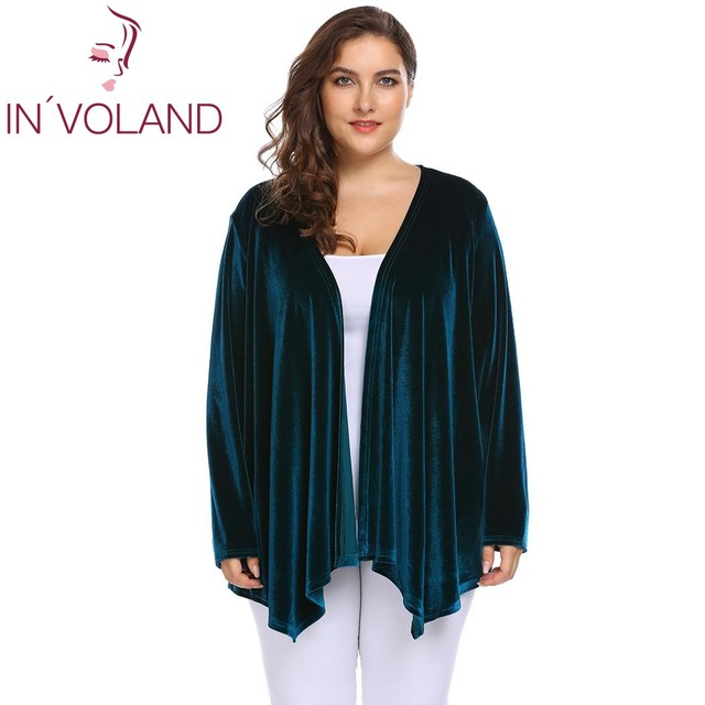 Big Size 4XL Women Sweater Cardigan Long Sleeve Open Front Velvet Draped Casual Lady Plus Size Tops
