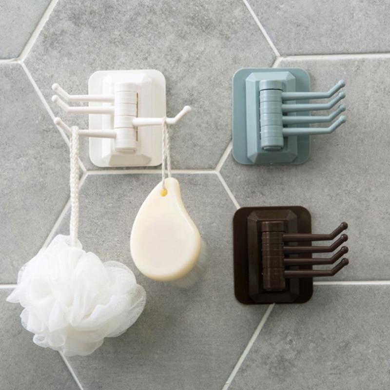 Multifunctional Rotary Self-adhesive Wall Trackless Hook Kitchen Bathroom Door Towel Rack Home Storage Holder Wall Key Holder