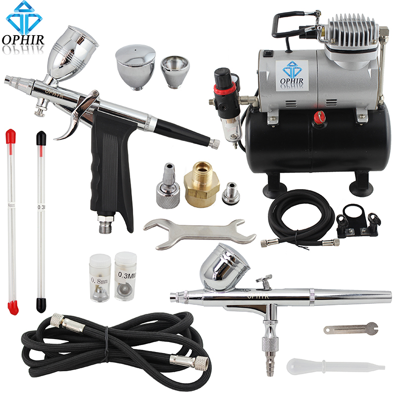 OPHIR 0.3 0.5 0.8mm 2-Dual-Action Airbrush Kit w/ Tank Air Compressor Spray Gun for Model Hobby Temporary Tattoo _AC090+004A+069 ophir professional dual action airbrush compressor kit with air tank for cake decorating model hobby tattoo  ac053 ac004 ac070