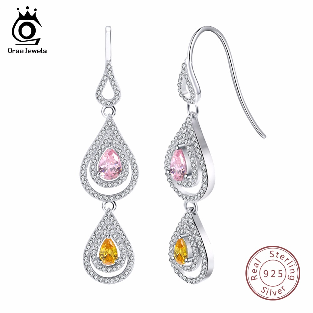 ORSA JEWELS 925 Pure Sterling Silver Women Earrings Dangle Long Water Drop Shape AAA CZ Female Wedding Party Jewelry SE49 newshe 925 sterling silver rose gold color dangle drop earrings 6 ct red rhinestone heart shape aaa cz fashion jewelry for women
