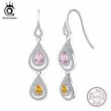 ORSA JEWELS 925 Pure Sterling Silver Women Earrings Dangle Long Water Drop Shape AAA CZ Female Wedding Party Jewelry SE49