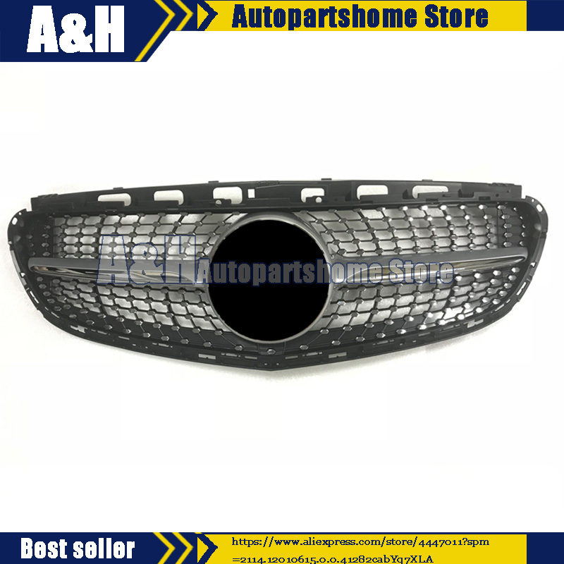 For <font><b>Mercedes</b></font> Benz <font><b>W212</b></font> E Class E350 E550 2014+ Diamond Silver Grille front <font><b>Grill</b></font> image