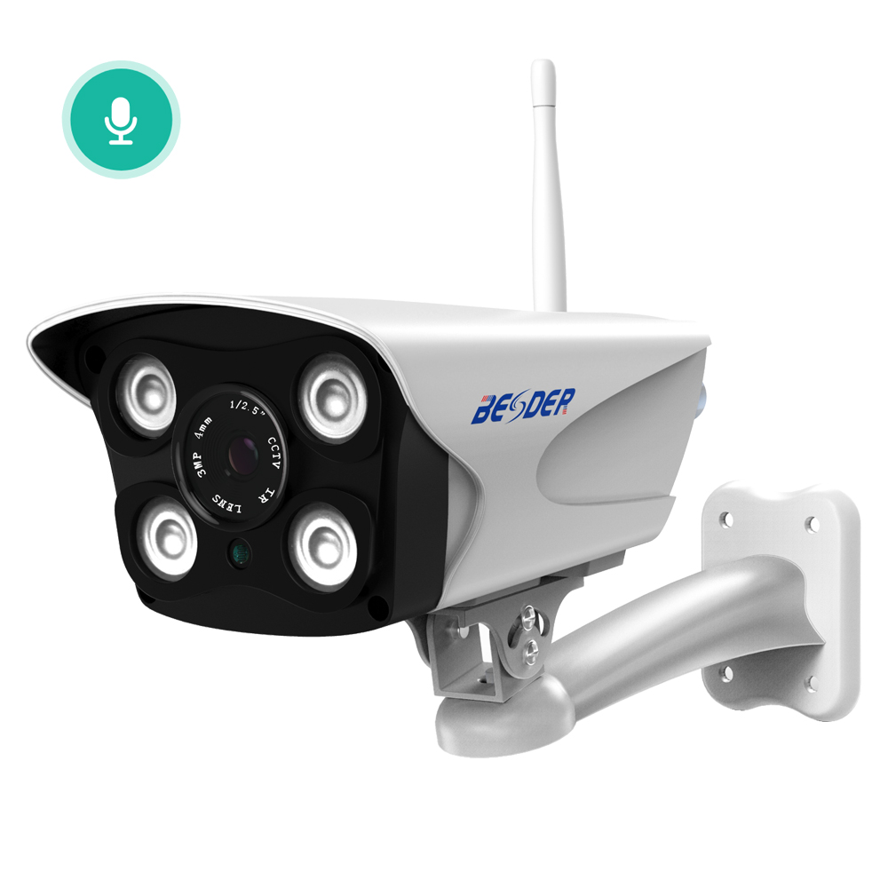 BESDER 1080P Two Way Audio Outdoor WiFi Camera Metal Case With 2 IR LEDs 2 White