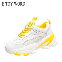 E TOY WORD New Product Women Casual Shoes White Mesh Breathable Womens Sneakers Fashion Thick Bottom women Platform Sports