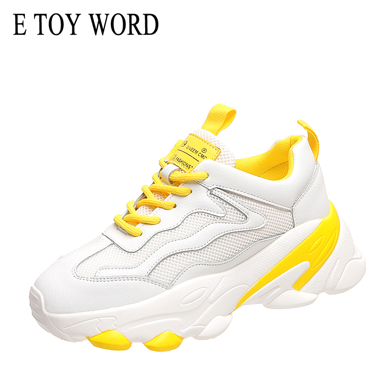 E TOY WORD New Product Women Casual Shoes Breathable Mesh Platform sports shoes White Ladies Shoes Height Increasing Dad Shoes