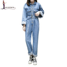 Spring Women Denim Jumpsuits 2018 New Casual Long sleeves Loose Denim Rompers Female High waist Washed trousers Rompers DD935(China)