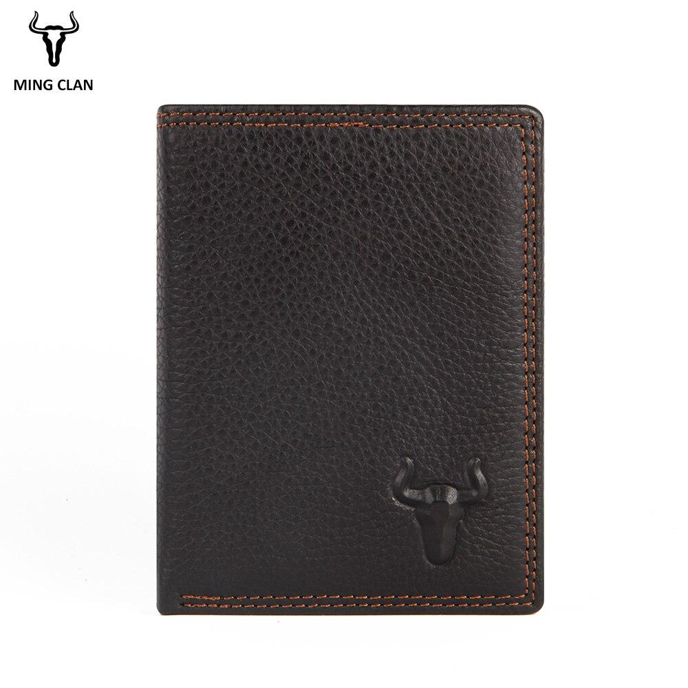 Mingclan Vintage Designer 100% Genuine Carteiras Masculinas Cowhide Leather Men Short Wallet Purse Card Holder Coin Pocket Male