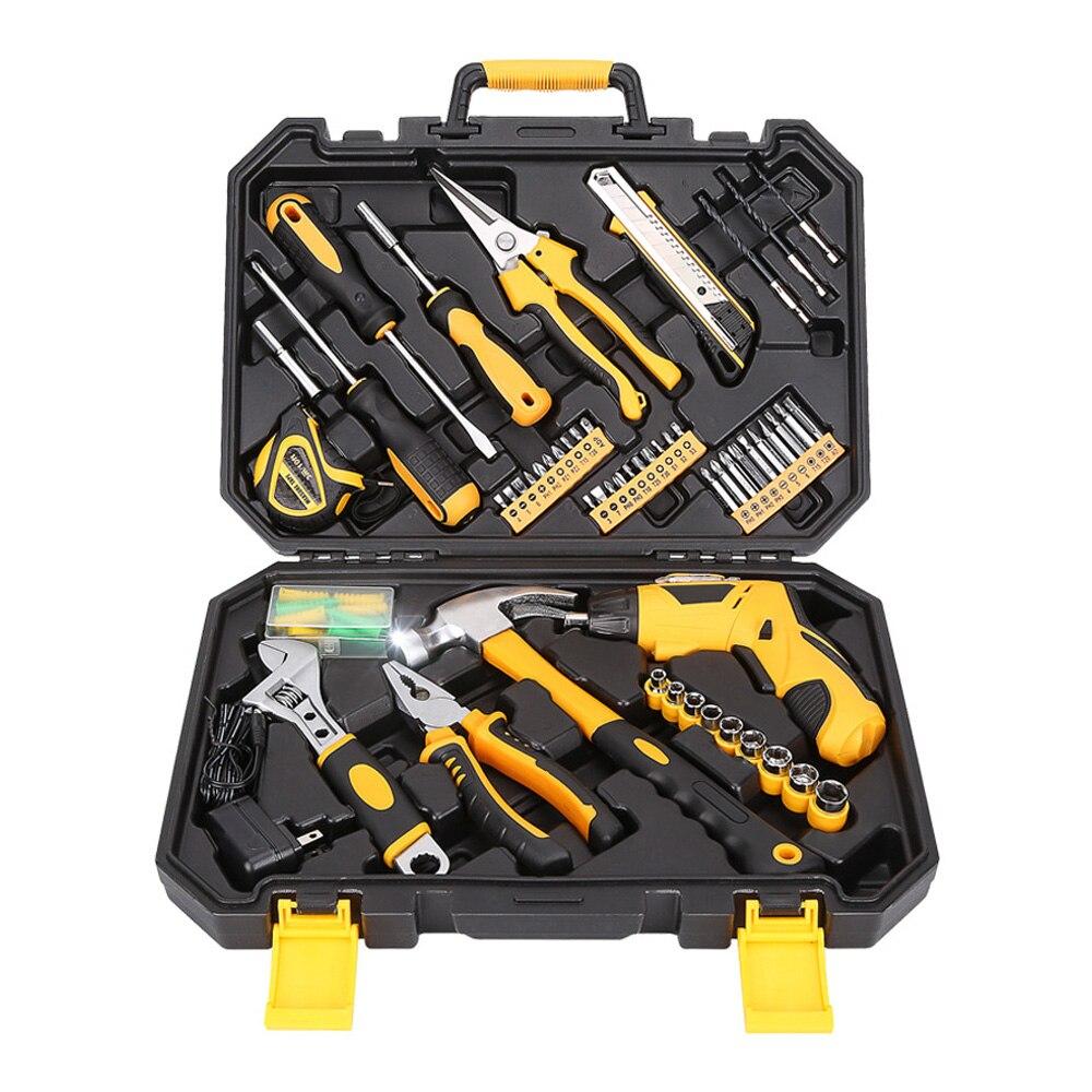 95 Pcs Hand Tool Set Household Hand Tool Kit For Home 3.6V Mini Cordless Screwdricer Socket Wrench Screwdriver Knife Toolbox стоимость