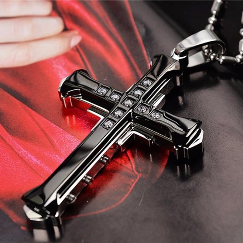 Stainless Steel Cross Pendant Necklace Christian Bible Prayer Women Men Necklace Black Gold Silver Classic Necklace crucifixo pingente de ouro masculino
