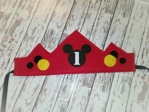 Mickey Mouse Birthday Crown WITH NAME NUMBER Hat First Party