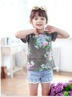 2018 Europejski Dziewczynka wiosna i Lato t-shirt + krótkie spodnie odzież 2 sztuk ubrania set Crochet gotowe