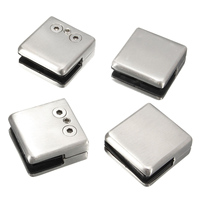 Promotion 4Pcs Stainless Steel Square Clamp Holder Bracket Clip For Glass Shelf Handrails Silver