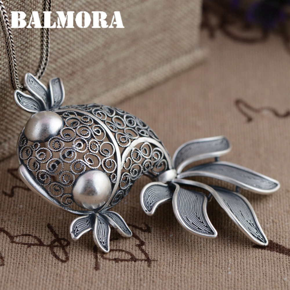 BALMORA 990 Pure Silver Goldfish Hollow Pendants Vintage Thai Silver Jewelry Women Animal Accessories Without a
