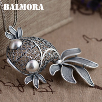 BALMORA 990 Pure Silver Goldfish Hollow Pendants Vintage Thai Silver Jewelry Women Animal Accessories Without a Chain SY12916
