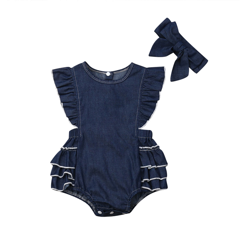 2PCS Newborn Kid Baby Girls Denim Bodysuit Ruffle Jumpsuit Outfit Clothes Headband Baby Girl Clothing Toddler Backless Jumpsuit