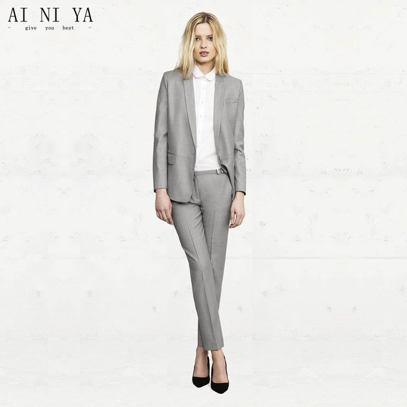 Light Gray Womens Business Suits Office Uniform Style Formal Pant ...