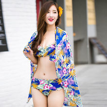 XL-M Print Mid Waist Bikini Blue Swimwear Sexy Secret Russian Push Up(China)