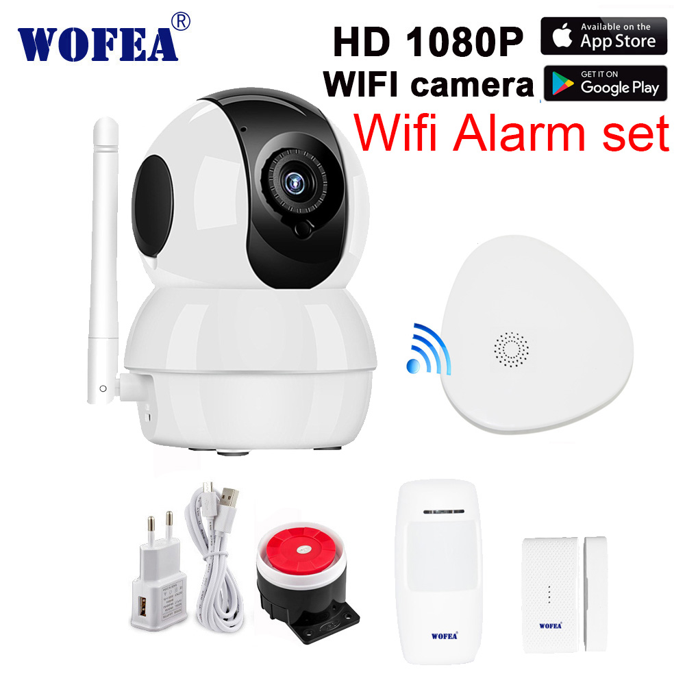 Wofea wifi gateway home security alarm system with HD 1080P wifi camera set message push real