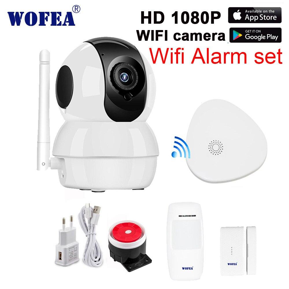 Wofea gateway wi-fi de segurança em casa sistema de alarme com câmera wi-fi HD 1080 P set mensagem push bink vídeo em tempo real com sensores