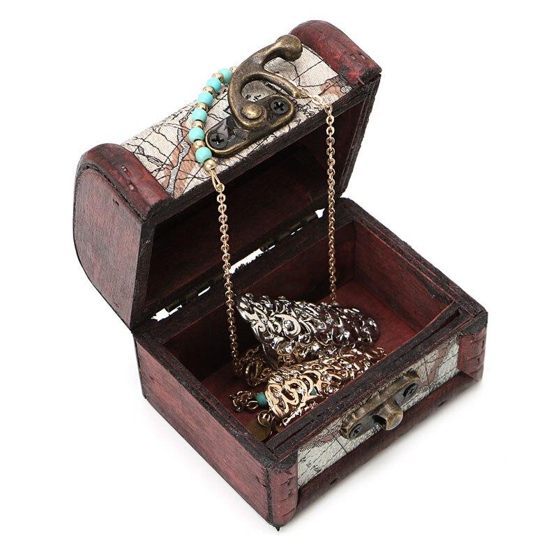 1 Stücke Vintage Holz Karte Aufbewahrungsbox Metall Sperren Schmuck Manschettenknöpfe Brust Fall Perlen & Schmuck Machen