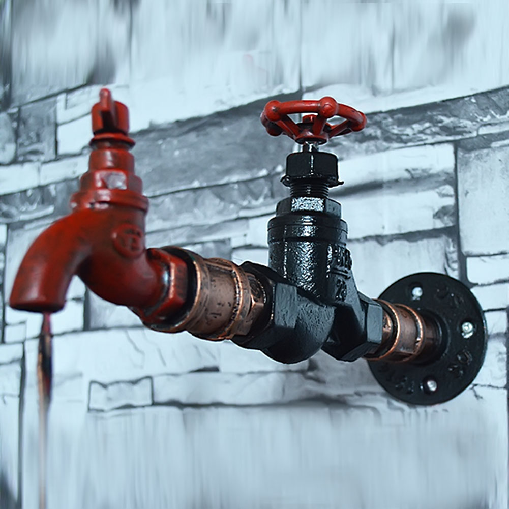Creative Iron Water Pipe Vintage Loft Wall Lamp Edison Wall Sconces ...