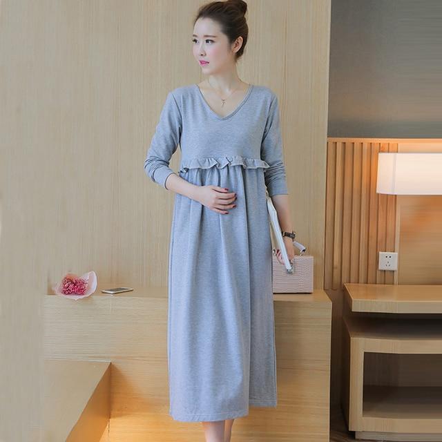 33bd0b50af6 Korean Long Grey Maternity Nursing Dress Cotton V Neck Breast Feeding  Dresses Clothes For Pregnant Pregnancy