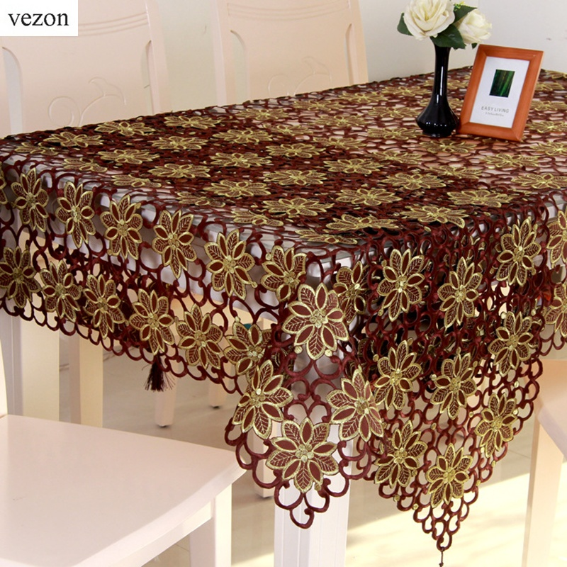 Vezon New Hot Sale Christmas Embroidery Tablecloth Coffee Color Full Embroidered Xmas Towel Table Linen Cloth Cover Overlays