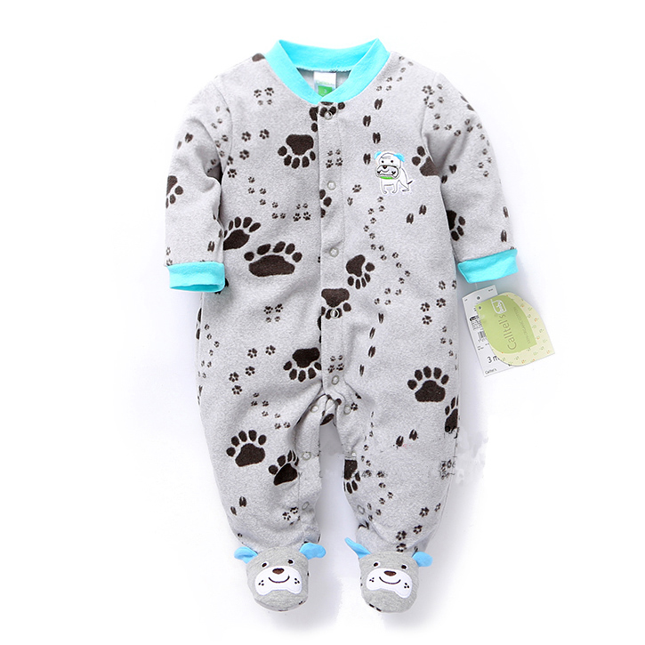 Spring and autumn baby clothes baby boy romper polar fleece newborn clothing infant clothes one piece romper newborn sleepwear