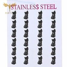 Fashion Animal Earrings Black Cat Stud Earring Stainless Steel Stud Earings Whol