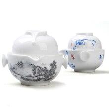 [GRANDNESS] quik-чашка синего и белого фарфора, чайный сервиз включает в себя 1 горшок 1 чашка, высокое качество элегантный Gaiwan