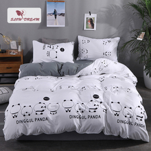 SlowDream Panda Printing Bedding Set White Bedspread Gray Bed Sheet Washed Cotton Linen Polyester Soft Duvet Cover 3/4pcs