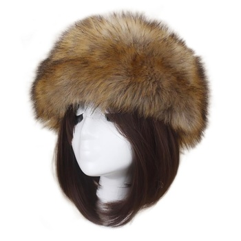 New Winter Adult Faux Fur Hat Women Stretch Cossack Russian Style Warm Cap Solid Color Soft Skullies Cap New Year's Gift image