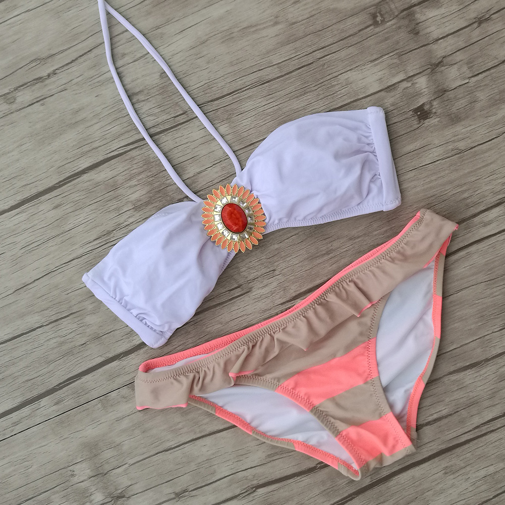 Women Sexy Secret Crystal Diamond Bikini Set White brand Swimwear Swimsuit Biquini Bottom Bathing Suit 2