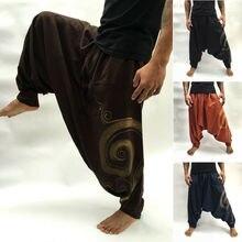 Новинка, повседневные мужские мешковатые штаны-шаровары, хиппи, Boho, хлопковые мягкие свободные штаны, пляжные, для йоги, длинные штаны, брюки для бега, M-3XL